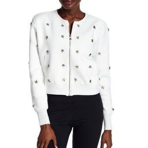 Badgley Mischka White and Silver Star Zip Jacket